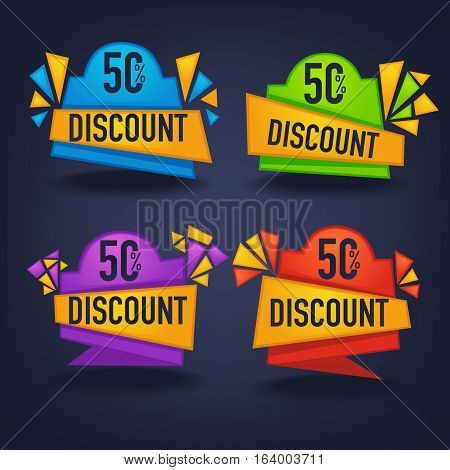 vector collection of bright discount tags banners and stickers on dark background