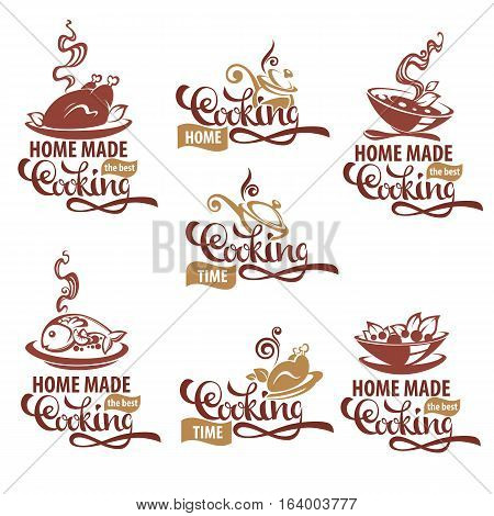 home made cooking logo template collection soup salad fish meat