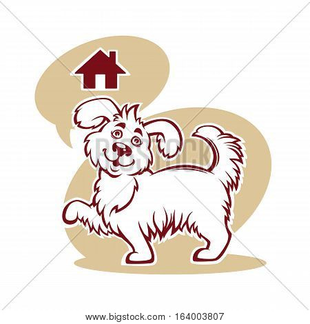 cartoon illustration for pet shelter with image of funny dog