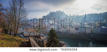 Old Town Of Salzburg On A Misty Day