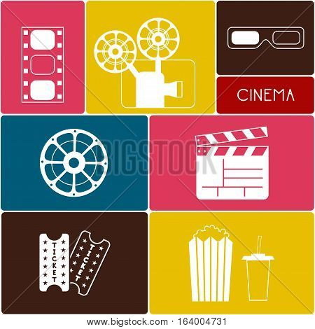 Set of Movie Elements/ Cinema Icons/ Vector Illustration of Movie Elements and Cinema Icons