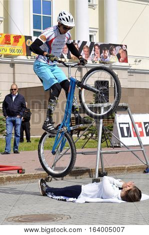 Mikhail Sukhanov performance champions of Russia on a cycle trial. City Day of Tyumen on July 26, 2016. Tyumen, Russia
