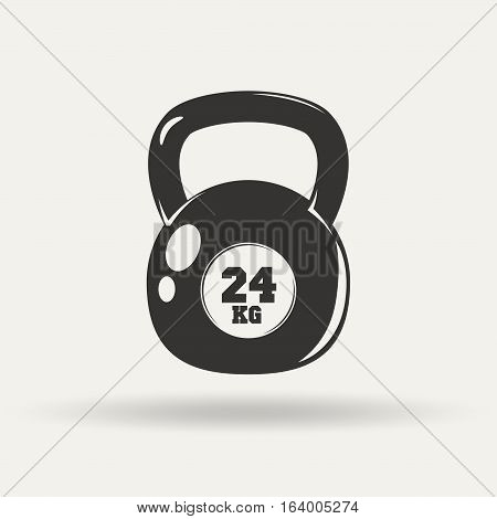 Fitness icon, kettlebell monochrome style on white background, vector