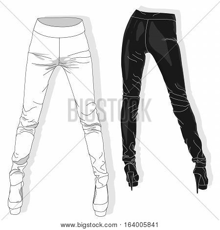 Woman leggings collection illustrated on white background.
