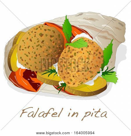 Falafel in pita image isolated on white.