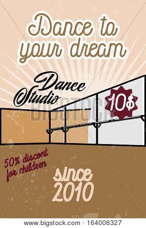 Color vintage dance studio banner. Dancing icon. Modern dance.