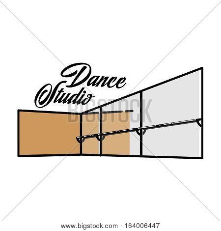 Color vintage dance studio emblem, logo or label. Dancing icon. Modern dance.