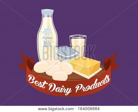 Farm products banner with dairy composition on perpl background, vector illustration. Best dairy concept with butter, eggs, milk, cheese, kefir. Organic farming. Natural and healthy food.