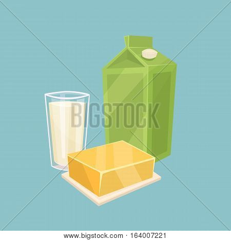 Glass witth milk and other dairy products isolated on blue background, vector illustration. Nutritious and healthy milk products. Natural and healthy food. Organic farmers products. Dairy icon.