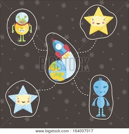 Space icons in cartoon style. Rocket flying around Earth, aliens characters, smiling cute stars vectors set isolated on starry grey background. Astronomic concept for childrens book illustrating