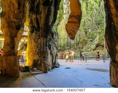 KUALA LUMPUR, MALAYSIA - JANUARY 13, 2014: Huge stalactites in the Batu Caves. Kuala Lumpur, Malaysia