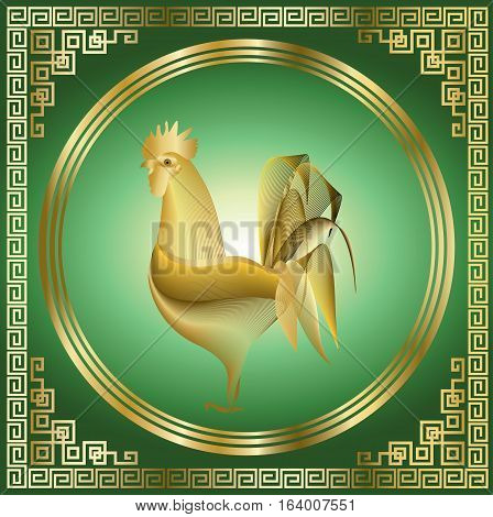Golden rooster with pattern on green background