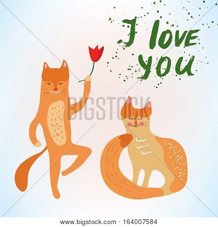 Valentine love card with funny cats - vector graphic illustration