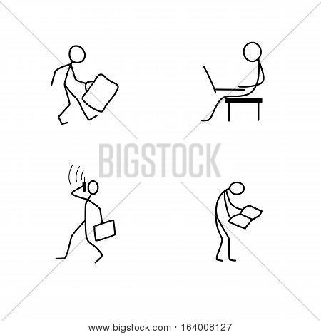 Cartoon icons set of sketch stick business figures vector people in cute miniature scenes.