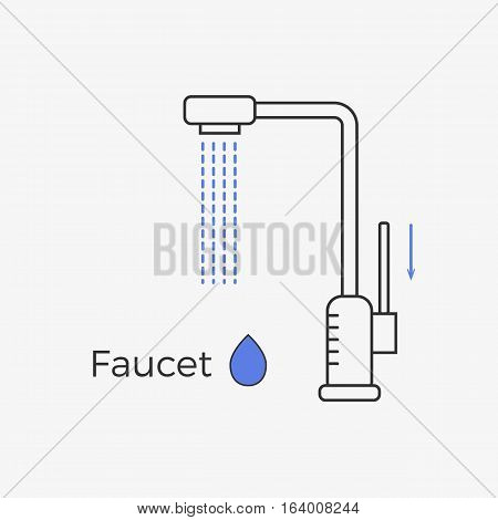 Faucet (water tap) thin line icon. Vector illustration for web or infographics. Equipment for bathroom or kitchen.