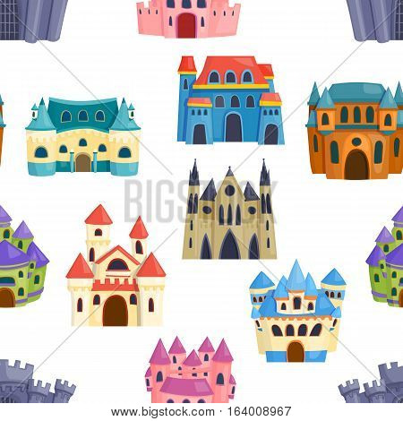 Seamless pattern castle, fairytale landscape. Background with building vector. Magic medieval architecture. Fantasy art dream palace illustration.