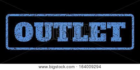 Blue rubber seal stamp with Outlet text. Vector message inside rounded rectangular shape. Grunge design and scratched texture for watermark labels. Horisontal sign on a black background.