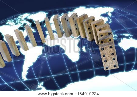 domino effect risk around world map concept background