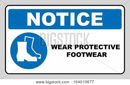 Wear safety footwear. Protective safety boots must be worn, mandatory sign in blue circle isolated on white, vector illustration. Notice label