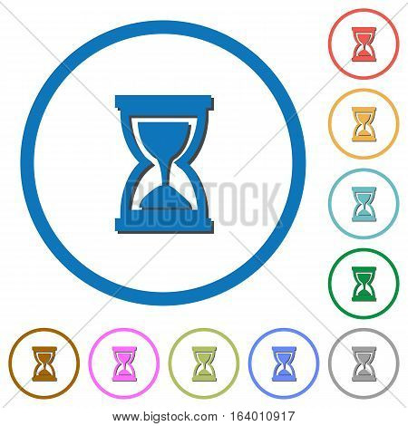 Hourglass flat color vector icons with shadows in round outlines on white background