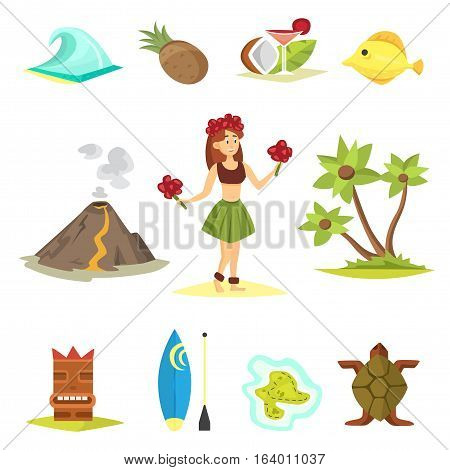 Hawaii symbols and icons, including hula dancer, tiki gods, totem pole, tiki torches and palms. Beautiful travel ethnic aloha party summer island beach vacation.