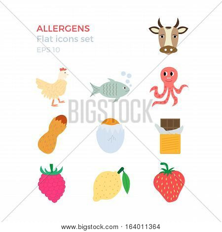 Allergens flat design icons set on white background. Vector illustration of food ingridients, that may cause allergy.