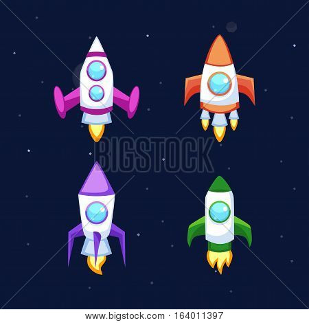 Rocket set vector and technology space ship cartoon icons.