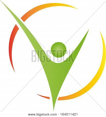 A person in motion, man and fitness logo