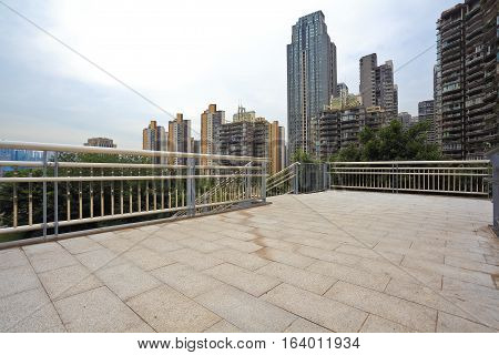 Modern City Buildings Background With Empty Road Floor