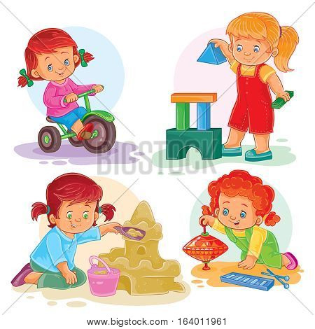 A set of vector icons of small girls playing with toys