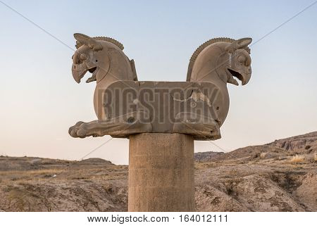 Griffin column in ruins of Persepolis ancient city in Iran