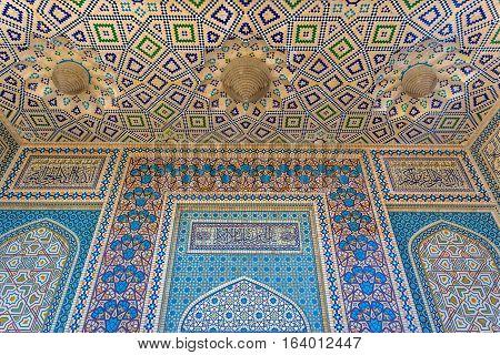 Part of Shah Cheragh Mosque and mausoleum Ahmadi square in Shiraz city in Iran