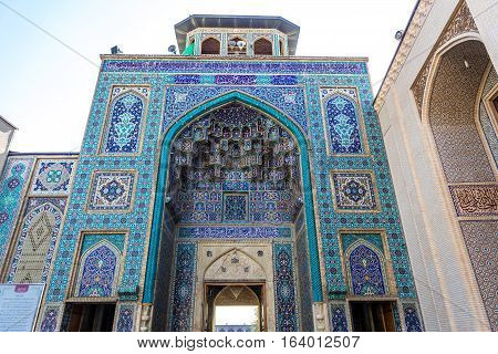 Main entrance to Shah Cheragh Mosque and mausoleum in Shiraz city in Iran