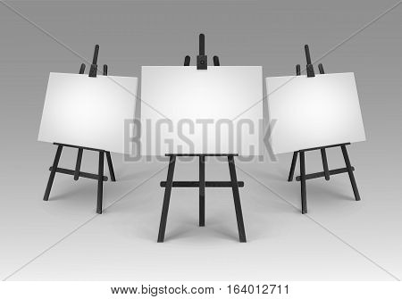 Vector Set of Black Wooden Easels with Mock Up Empty Blank Canvases Isolated on Background
