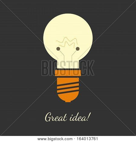 Vector illustration of ligh bulb in flat and simple design. Perfect illustration for great ideas. Dark background, mild colors.