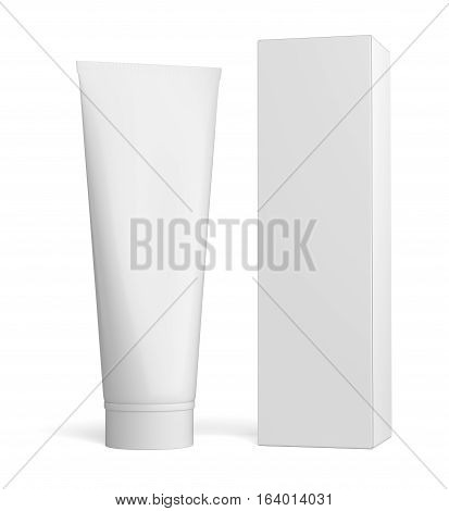 White cream bottle and tall white paper box for cosmetic packaging mock up. 3D illustration