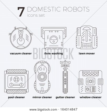 Vector icons set of domestic robots in line art style with text descriptions. Different types of robots. Can be used as web-site or infographic elemets, in print design.