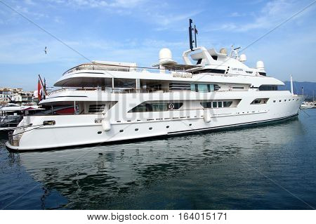 Marbella, Spain - Januari 3, 2017: Motor Yacht Lady Haya in the harbor of Marbella.