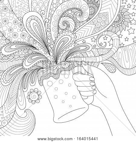 Hand holding beer glass for adult coloring book,poster and design element