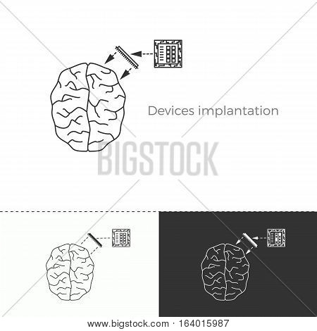 Vector illustration of future medicine trend. Medical gadgets and technological innovations. Thin line concept icon. Human brain augmentation through devices implantation.