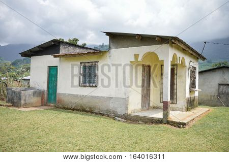 Typical local house surrounded by the landscapes of Santa Barbara National park in Western Honduras. Central America