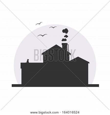 Stylish house silhouette vector illustration in dark colors with moon background. Logo or icon design, infographics element. With birds, cat and smoke from chimney!