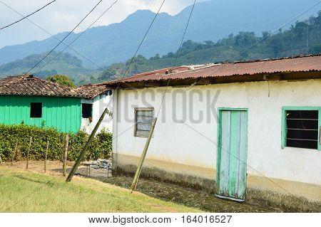 Small village of coffee growers in the highlands of Honduras Central America. San Luis de Planes Santa Barbara National Park