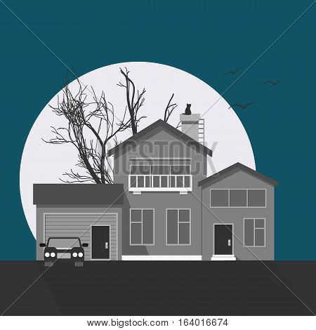 Stylish grayscale house vector illustration. Flat design image of building with moon, tree, cat silhouette and birds. Halloween!