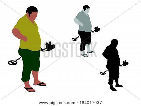 Fat Man With Slippers Standing With Metal Detector