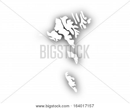 Map Of The Faroe Islands With Shadow