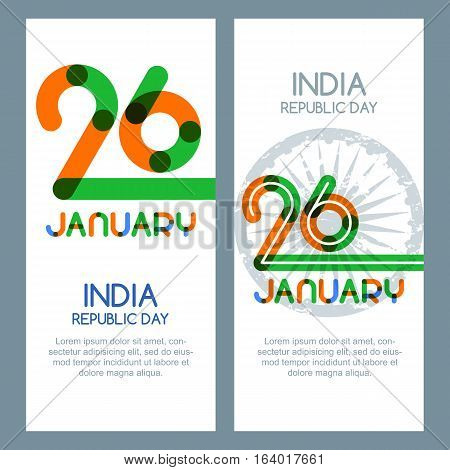 26 Of January, India Republic Day. Vector Multicolor Banners And Backgrounds.