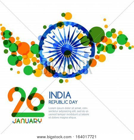 26 Of January, India Republic Day. Vector Multicolor Banner Background.
