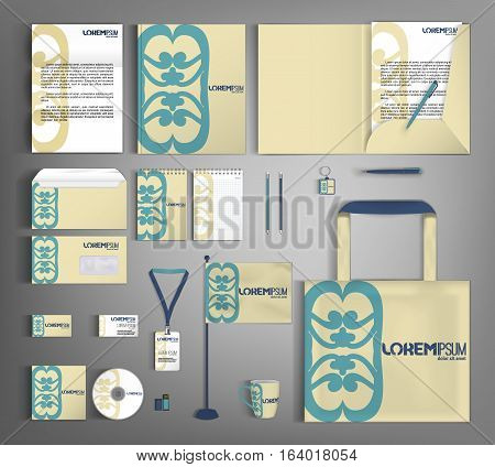 Trendy corporate identity template design with retro elements. Modern abstract business set stationery in typographic style, brochure, card, letterhead, catalog, pennants. Suitable for brand advertising