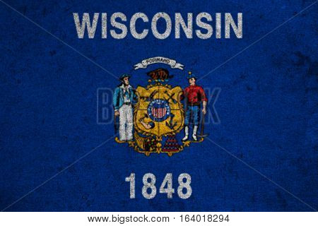 Graphic American State Grunge Flag Of Wisconsin